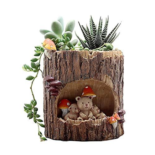 Bigood Créatif Pieu Pot de Fleur Animaux Cartoon Résine Décor Bureau Jardin #B 10.5x10.5x13cm