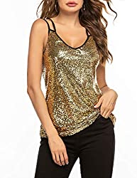 Gold Sleeveless Sequin Top Camisole Vest Tank Tops