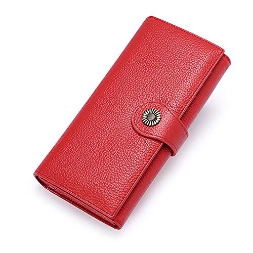 Warm Home Ms. gesp lederen portemonnee lange sectie koppeling portemonnee card pack rood Nice