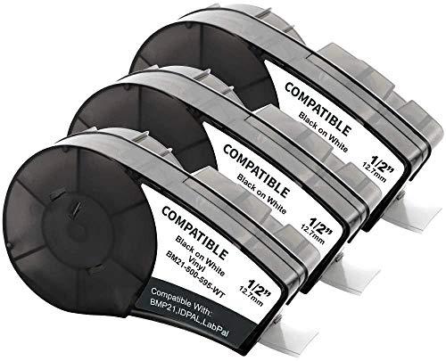 Aken kompatibel Etiketten als Ersatz für Brady Vinyl Etikettenband, für BMP21-PLUS BMP21-LAB ID PAL LABPAL Drucker, Etikettenklebeband M21-500-595-WT schwarz auf weiß 12,7 mm x 6,4 m, 3 Pack