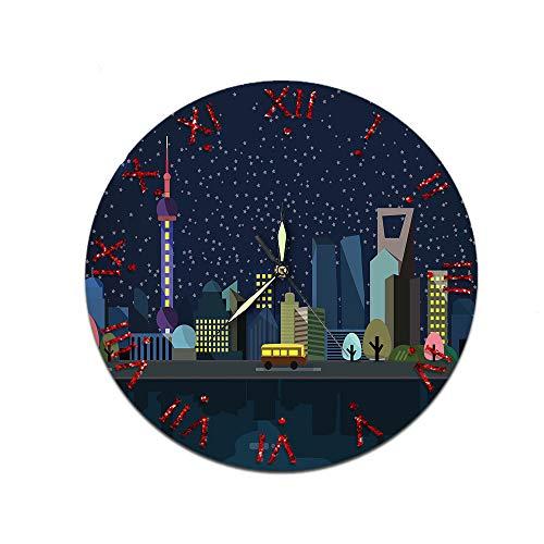 LUOYLYM Reloj De Pared Creativo Casero De Dibujos Animados Reloj De Decoración De Pared De Acrílico Reloj De Espejo De Movimiento Mudo L181125-a07 28CM