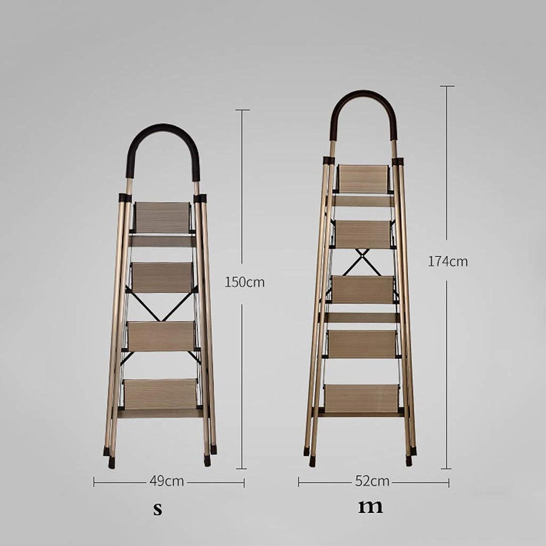 Folding Steps - Aluminum Alloy Thickening Herringbone Ladder Multi Function Four-five Step Folding Home Extension Ladder Ladder (Size   M-52 × 174cm)