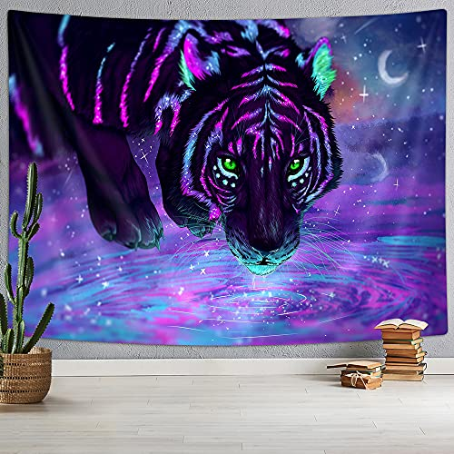 Psychedelic Tiger Tapestry, Purple Galaxy Starry Fantasy Wild Animal Tapestry, Trippy Space Tiger Blacklight Art Poster Tapestry Wall Handing for Bedroom Living Room Dorm, 71X60IN