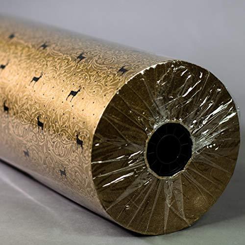 FSC Secare Rolle Weihnachten Goldglanz mit Ornamenten 50 cm x 250 m | 60 g/m² Geschenkpapier | HUTNER