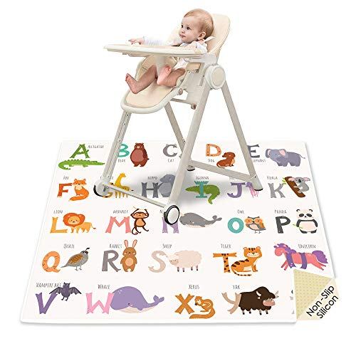 51' Baby Splat Mat for Under High Chair, SI Anti-Slip Waterproof Multipurpose Splash Mat, Washable High Chair Mat Floor Protection Table Cloth Portable Picnic Play Mat with Early Education Pattern