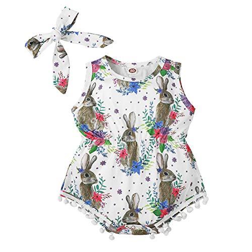 Pistazie – Nacido bebé niña bodys niño a la edad Cardigan conejo de Pascua con flores de manga larga para niños blanco L
