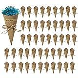 SacJkt Conos Arroz Boda, Conos de Papel Kraft Vintage con Cuerda de Cáñamo Etiqueta Adhesiva, 50 Piezas Papeles de Cono de Bricolaje para Bodas (15 x 15 cm)