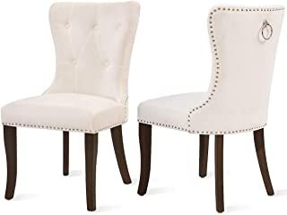 Dining Chairs Set of 2, Upholstered Cream Accent Chair Button Tufted Armless Chair with Nailhead Trim and Back Ring Pull, ...