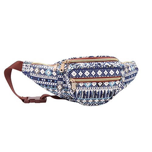 Quenchy London QL415M - Riñonera de viaje en lona, 5bolsillos con cremallera, para contornos de cintura de hasta 120cm, ideal para festivales y vacaciones, Azteca Marina (Azul) - QL4173N