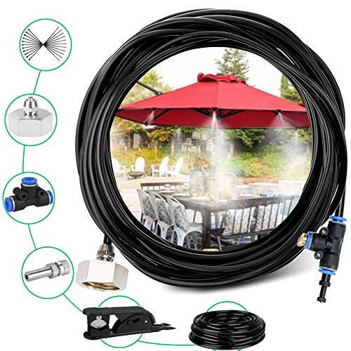 49FT Misting Cooling System with 15 Misting Nozzles, Greenhouse Plants Spray Hose Watering Kit,Outdoor Misting Kit for Patio Garden Greenhouse Trampoline