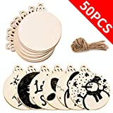AerWo 50pcs DIY Wooden Christmas Ornaments with Holes, Unfinished Wood Slices Round Wooden Discs 3.5' for Kids DIY Crafts Centerpieces Holiday Hanging Decorations