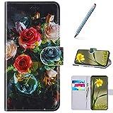 URFEDA Funda Compatible con Samsung Galaxy S9 Funda Libro de Cuero Billetera Carcasa Rose Impreso Cierre Magnético Retro Cover Libro Soporte Plegable Cartera Funda Ranura para Tarjeta Funda Flip