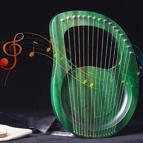 Daumenharfe, 16 Saite Lyre Harfe, Tragbar Hölzernes Musikinstrument, Stahlschnur Mit Aufbewahrungstasche Musikgeschenk Geeignet Für Erwachsene, Jugendliche, Kind ( Color : Green , Size : 27x37x3.5cm )