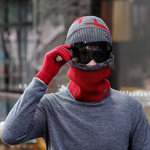 Tony plate Gorro para Hombre de otoño e Invierno Gorro de Punto para Ciclismo al Aire Libre Gorra protección para los Ojos Gorro de algodón para el Viento y el frío-Vino Tinto-Juego de 4 Piezas