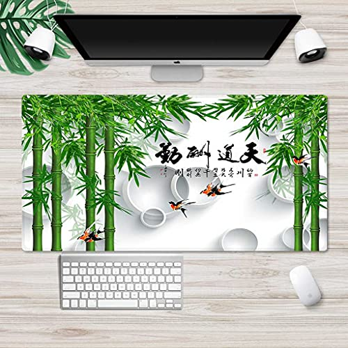 YRUJBT Large Gaming Mouse Pad with Stitched Edges, L Mousepad Non-Slip Base Green Bamboo Leaves Computer Mouse Pad, Personalized Desk Mat for Gamer, Office & Home, 23.6x11.8x0.1 in
