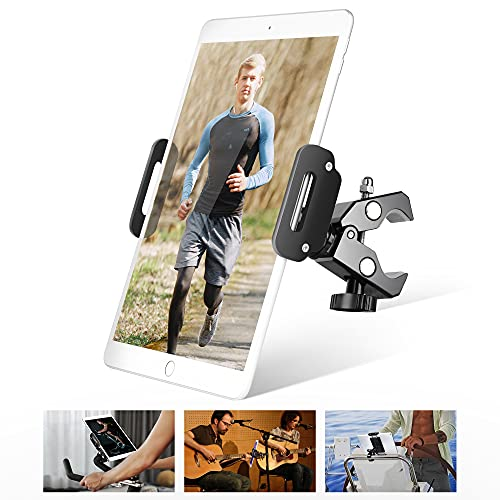 Elitehood Heavy Duty Aluminum Tablet Holder for Spin Bike, Gym Treadmill & Exercise Tablet Clamp Mount, Indoor Stationary Bicycle Tablet Stand for iPad Pro 11/iPad Air/Mini, 4.7-12.9'' Tablet & Phone