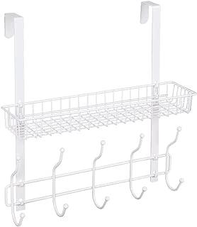NEX Over The Door Coat Hook Organizer Bathroom Towel Hanging Rack, White (White)