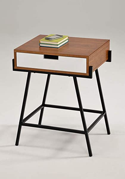 Dark Oak And White Finish With Metal Frame Nightstand Side End Table With One Drawer
