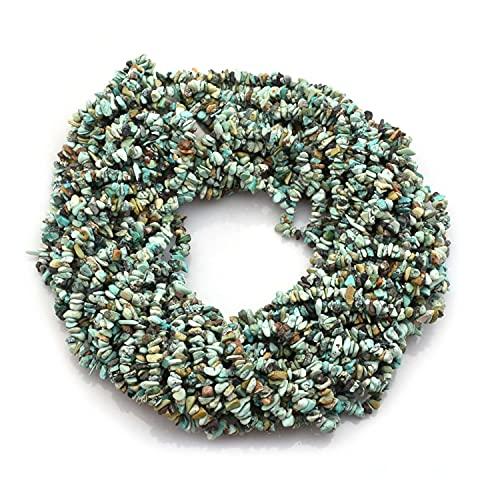 Crystallay 4-5MM de Piedras Preciosas de Turquesa tibetana Natural, Cuentas Sueltas de Artesanía de Piedra de viruta Irregular sin Cortar de Cristal para Hacer Joyas, 2 hebra de 36' Pulgadas