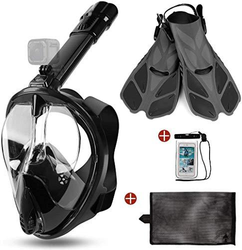 Helmets Máscara De Buceo,Máscara De Buceo Antivaho Y Antifugas,Máscara de Snorkel de Cara Completa 180 ° Vista Panorámica con Bolsa Impermeable, para Unisex Adultos