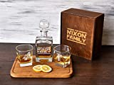 Personalized Whiskey Decanter, Wedding Gift for Couple, Gift for Boss, Engraved Whiskey Glass, Retirement Gift Box, Etched Whiskey Glasses, Gift for Him