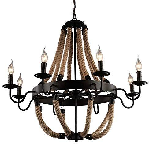 Lámpara colgante de cuerda de cáñamo con vela vintage americana de 6 cabezas, lámpara de techo con pantalla de hierro forjado ajustable en altura de isla de cocina, lámpara colgante industrial Art D