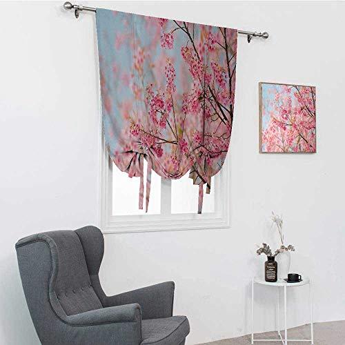 GugeABC Cortina opaca floral japonesa, ramas de cerezo Sakura con flores de cerezo llenas de primavera Belleza, panel de bolsillo para barra, rosa claro, azul bebé, 76,2 x 162,6 cm