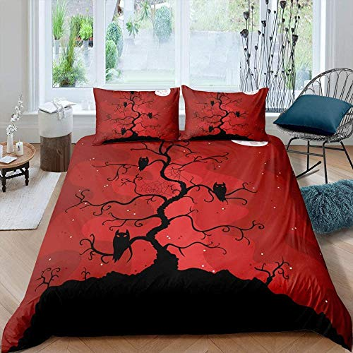 Damqskd Bed Linen Set Duvet Cover Set For Teenager Boys With Pillowcase Red Scary Tree Animal Owl Halloween - Single (135 X 200 Cm) - Medium Double Bed, 3 Piece Set, 1 Duvet Cover + 2 Pillowcases, M