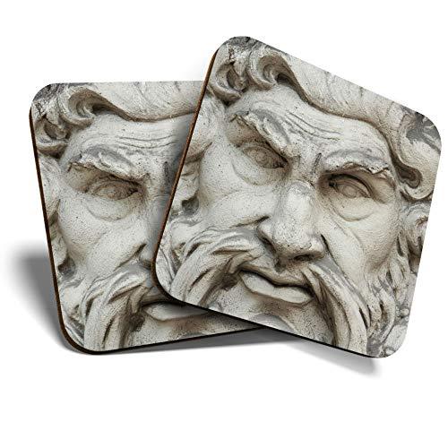 Great Coasters (Set de 2) Posavasos cuadrado/brillante de calidad para cualquier tipo de mesa – Zeus Estatua de Dios Griego # 12553