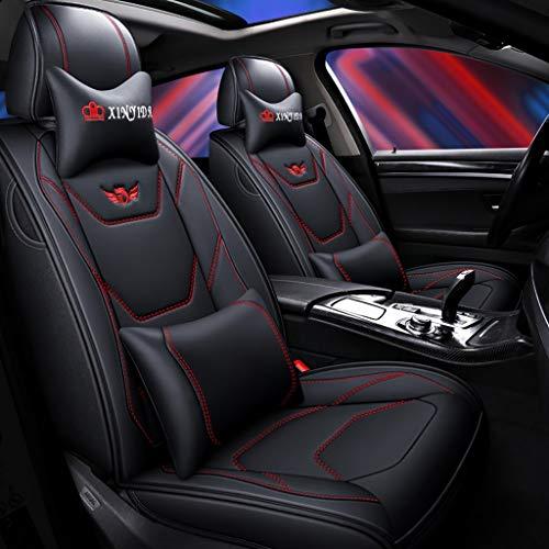 Coprisedile per auto, anteriore e posteriore Set completo per 5 sedili Coprisedile universale per auto, quattro stagioni Compatibile con airbag. (colore : Black red)