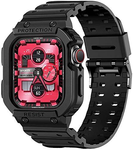 amBand Compatible con la Correa de Apple Watch 42mm 44mm, protección Deportiva TPU Correa de Repuesto con Funda para iWatch Series 6/SE/5/4/3/2/1-negro Mate