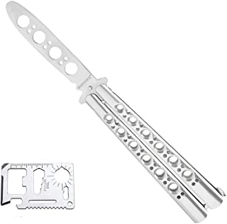 VORNNEX Practice Butterfly Knife,Full Stainless Steel Unsharpened Blade 100% Safe Dull..