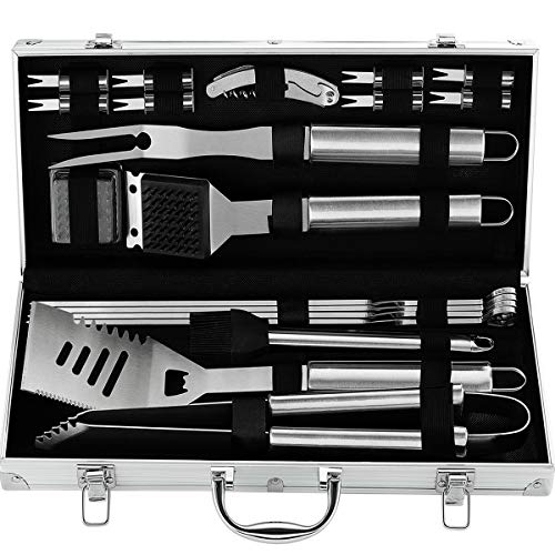 grilljoy 20PCS Heavy Duty BBQ Grill Tools Set - Extra Thick Stainless Steel Spatula, Fork& Tongs. Complete Barbecue Accessories Kit in Aluminum Storage Case - Perfect Grilling Tool Set Gift
