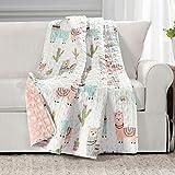 Make A Wish Southwest Llama Cactus White & Blush Reversible Throw Blanket, 50' x 60'