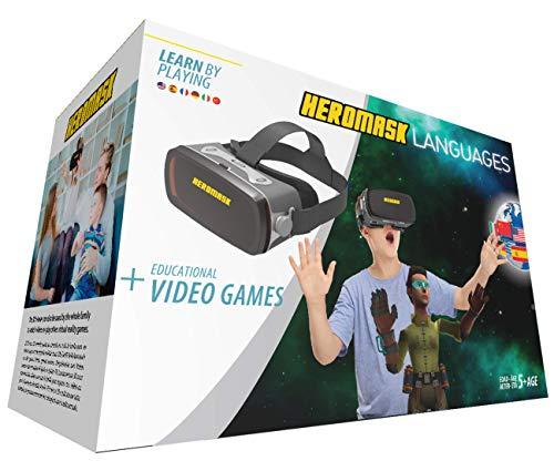 Gafas Realidad Virtual Niños + Juego Educativo Idiomas [ Regalo Original ] Aprende inglés, francés, etc. Juguete niño y niña 5 6 7 8 9 10 11 12 años - Gafas virtuales 3D - Cumpleaños - Navidad - VR