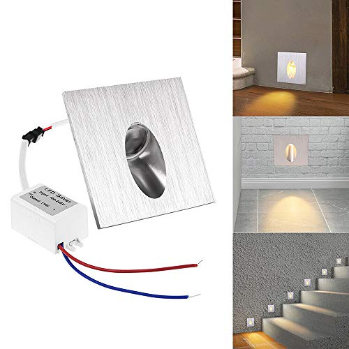 1W Led Lampe Murale Spot Rond Encastrable Coin Mur Escalier Blanc Chaud X10