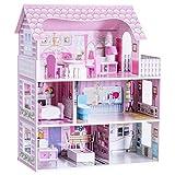 COSTWAY Casa delle Bambole in Legno per Bambina Giocattolo dei Bambini 3 Piani con Mobili e Accessori