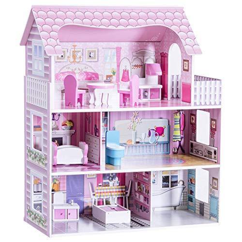 COSTWAY Casa delle Bambole in Legno per Bambina Giocattolo dei Bambini 3 Piani con Mobili...