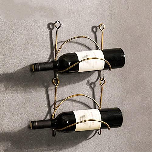 Organizador de almacenamiento de montaje en pared de montaje en pared de hierro forjado Organizador de la decoración casera rústica, el acabado curvado no contiene botellas de vino 2 bastidores