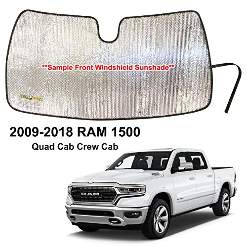 YelloPro Custom Fit Automotive Reflective Front Windshield Sunshade Accessories UV Reflector Sun Protection for 2009 2010 2011 2012 2013 2014 2015 2016 2017 2018 Dodge RAM 1500 QuadCab CrewCab Pickup