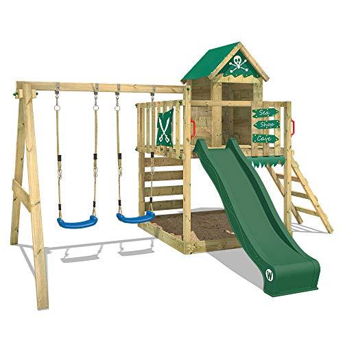 WICKEY Aire de jeux Smart Cave Vert Tour d'escalade Maisonnette de jeux avec balançoire et toboggan, grand bac à sable et échelle à grimper