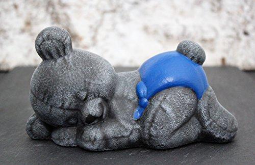 Tiefes Kunsthandwerk Steinfigur Teddybär schlafend - Kindergrab Deko Figur Stein Frostsicher