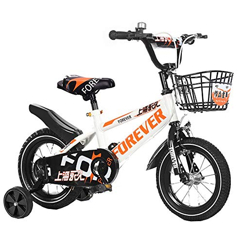 FUFU Kids Bike For Boys And Girls, 12-14- Inch, With Training Wheels And Support Frame (Color : Orange, Size : 14in)