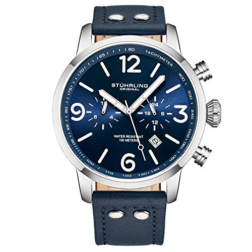 Stuhrling Original Mens Leather Dress Watch - Aviator Watch with Date and Leather Strap Pilot Watch Duel Time and 24 Hour Subdial Tachymeter Watches for Men Collection (Blue)