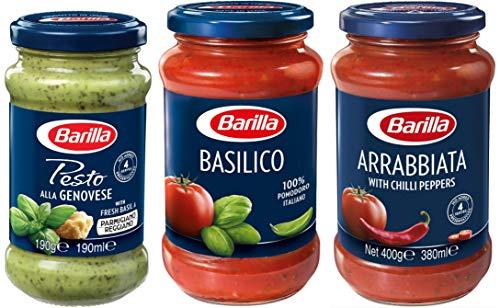【Amazon.co.jp限定】 Barilla パスタソース 3種食べ比べセット (ジェノベーゼ1個、バジルトマト1個、アラビアータ1個) [正規輸入品] 【セット買い】