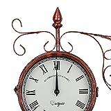 BHHT Reloj De Pared De Doble Cara Exterior Reloj De Pared con Batería Silenciosa Reloj De Pared Retro Hierro Forjado Hierro De Doble Cara Reloj De Pared Decoración De Reloj De Pared (Color : Copper)