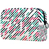 Bolsa de viaje cosmética bolsa de maquillaje pequeña verde rosa negro barra 7.5x3x5.1 pulgadas (L×W×H) portátil maquillaje bolsas organizador cremallera para las mujeres