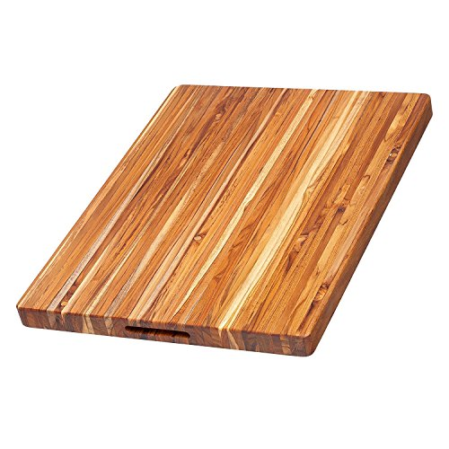Teakhaus Wooden Cutting Board - Large Wooden Rectangle Carving Board With Hand Grip (24 x 18 x 1.5 Inch) - Sustainably Sourced by Teakhaus