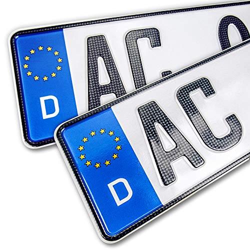 schildEVO 2 Carbon Kfz Kennzeichen | 520x110 mm | OFFIZIELL amtliche Nummernschilder | DIN-Zertifiziert – EU Wunschkennzeichen mit individueller Prägung | Autokennzeichen