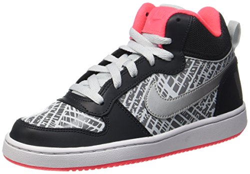Nike Nike Court Borough MID PRNT (GG) Basketballschuhe, Grau (Anthracite/MTLC Silver-Hot Punch-Pure Platinum), 36 EU